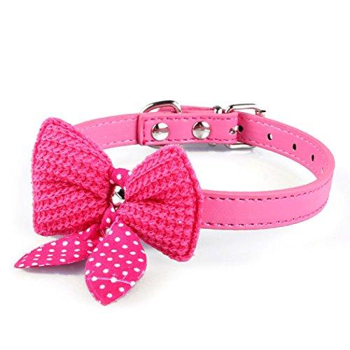 Ularma Haustier Hund Katze Schleife Halsbänder Halskette aus PU Leder Länge Einstellbare (Hot Pink)