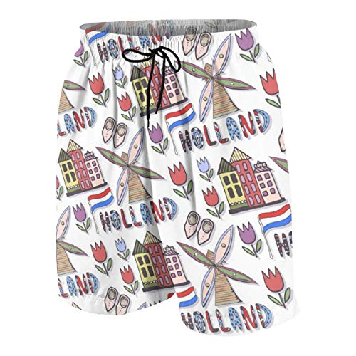 magic ship Hand Drawn Holland Windmill Boys Beach Shorts Quick Dry Beach Swim Trunks Kids Swimsuit Beach Shorts,Essentials Boys' Woven Shorts S -