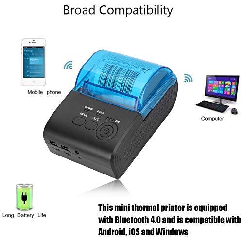 Thermodrucker Bondrucker 58mm, Bluetooth 4.0 Wireless Quittungsdrucker ESC/P0S/STAR Befehlen Drucker 90mm/s, USB, Seriell Schnittstelle, Kompatibel mit iOS Android Windows Linux