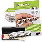 CASCHA Harmonica set débutant avec livre, apprenez à jouer de l\'harmonica blues, y compris étui, tissu et manuel, harmonica en do majeur