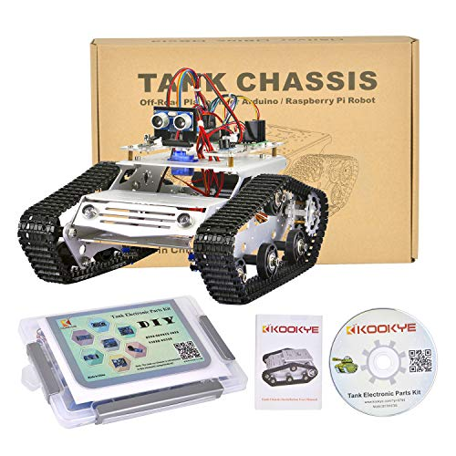 KOOKYE Roboter Auto Chassis + Roboter Auto Elektronik Teile Kit Panzer Plattform Metall Edelstahl 2DW Motor 9V für Arduino