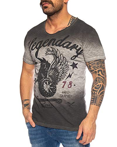 LARAZÉ Prince Horny Harry Herren T-Shirt Tee Kurzarm Shirt Mit V-Ausschnitt S-XXL, Größe:L, Farbe:Anthrazit -