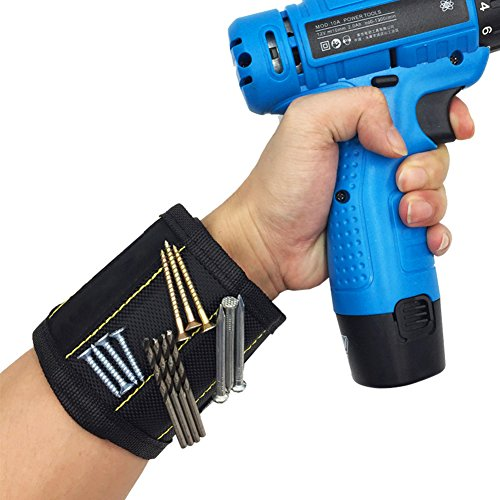 Magnetisches Armband, Starke Magnetarmband mit 10 leistungsstarken Magnetische Magnet Armbänder für Holding Werkzeuge, Schrauben, Nägel, Bohren Bits und Kleinwerkzeuge - Best Geschenk für Vater
