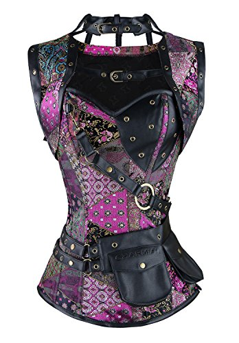 Charmian Women's Steel Boned Retro Goth Brocade Steampunk Bustiers Corset Top with Jacket and Belt Multicolored XXXX-Large (Steampunk Pirate)