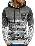 OZONEE MIX Herren Sweatshirt Langarmshirt Sweatjacke mit Motiv Pullover Camouflage Pulli JS/TT52 GRAU L