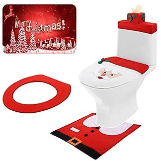 Asiento de Inodoro Nariz Santa 3D Juego de Fundas Decoraciones Navideñas de Inodoro Decoraciones de Baño de Navidad para Decoración Navideña de Vacaciones, 5 Piezas en Total