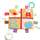 Toyvian Baby Sicherheitsdecken Weiche Tröster Handtuch Decke mit Bunte Taggies (Bär und Apfel)