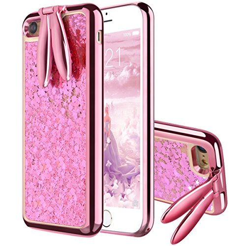 ür iPhone 6S Hülle, iPhone 6 Hülle Handyhülle Glitzer Flüssig Liquid Ultra Dünn Slim TPU Case Glitter Bling Shining Silikon Gel Bumper Clear Stand Function - Rose Gold ()
