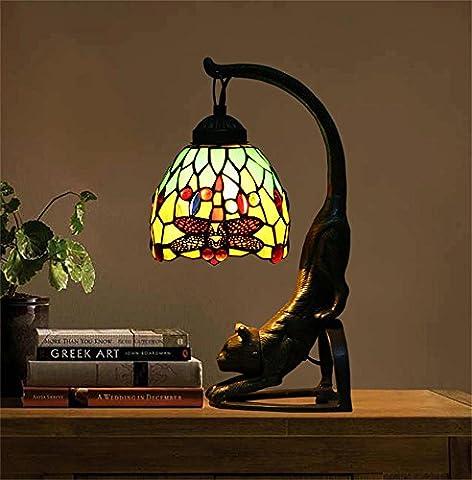 Vintage Art Deco katze Tischlampe Schreib Libelle tischlampe Nachttischlampe Coffee-Shop / Bar gemalt Lampe