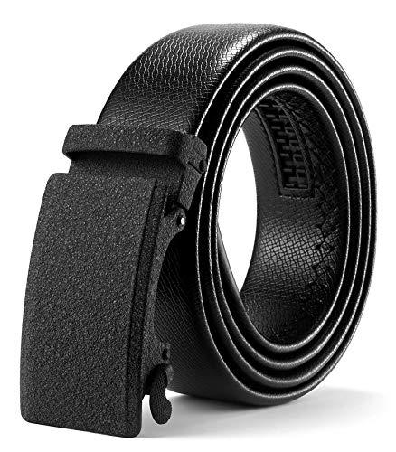 ITIEZY Cinturón Cuero Hombre con Hebilla Automática, Cinturones Piel Negro Sencillo y Clásico con Caja de Regalo
