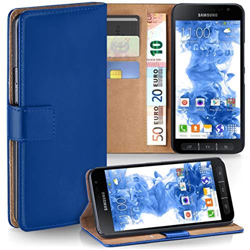 moex Samsung Galaxy Xcover 4 | Hülle Blau mit Karten-Fach 360° Book Klapp-Hülle Handytasche Kunst-Leder Handyhülle für Samsung Galaxy Xcover 4 Case Flip Cover Schutzhülle Tasche