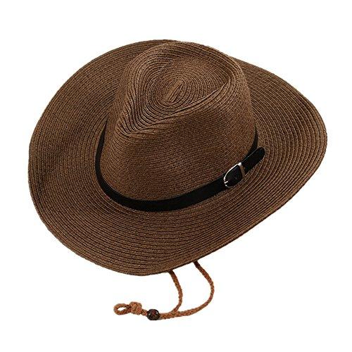 (Fletion Sonnenschutz Sommer Strohhut Unisex Bowler-Hut Cowboy-Hut Große Krempe Sommerhut Strand Kappe Sandstrand Sonnenhüte)