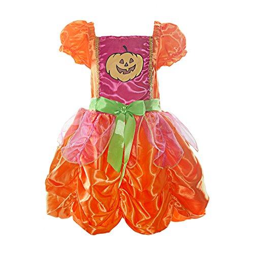 ReliBeauty Mädchen Kleid Kürbis Kostüme Puffärmel Quadratischer Kragen Schleife Gürtel Faltenrock Halloween Verkleidung, Orange, 140(XL)