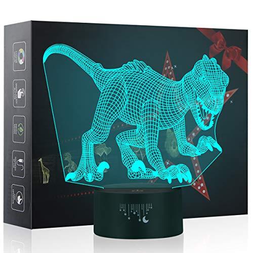 3D Nachtlicht, Indoraptor LED Lampe, Baby Schlafzimmer Schlaf Lichter, 7 Farben Touch Tischleuchte, Dinosaurier Spielzeug das Beste Weihnachtsgeschenk für Kinder