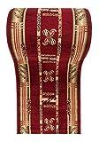 Läufer Teppich Flur in Rot Beige - Trendy Muster - Kurzflor Teppichlaufer