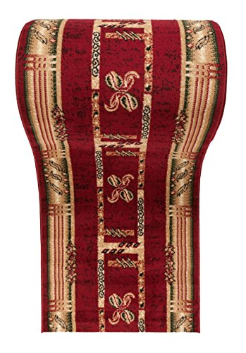 "Läufer Teppich Flur in Rot Beige - Trendy Muster - Kurzflor Teppichlaufer \"" VERONA \"" Kollektion 90 x 275 cm"