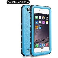 Coque étanche pour iPhone 8Plus, Coque étanche pour iPhone 7Plus, Dooge Certifié IP68résistant aux chocs étanche anti-poussière anti-neige pluie Proof Heavy Duty robuste protection complète Coque étanche pour iPhone 7Plus/8Plus bleu clair