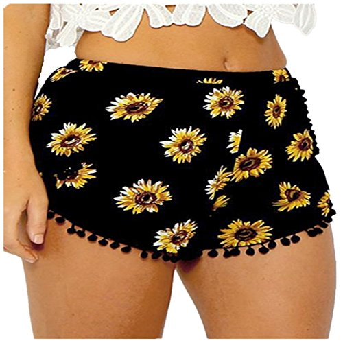Preisvergleich Produktbild O-C Womens'beach shorts black with sunflower pattern summer Loose waist beach pants with small balls XL