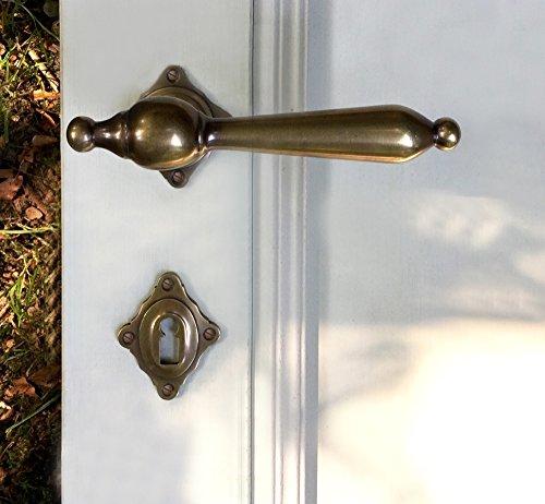 Antikas - juego de manillas para puertas interiores - picaportes como antiguo - manillas con las rosetas BB de latón - herrajes puertas para puertas de madera