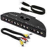 Fosmon 4-Wege Audio / Video RCA Switch Hub mit 4 Input-Anschlüssen Selector / Splitter Box / Umschalter Adapter & AV Patch Kabel für Microsoft XBOX 360, playstation PS3, Gamecube, Wii, DVD, VCR