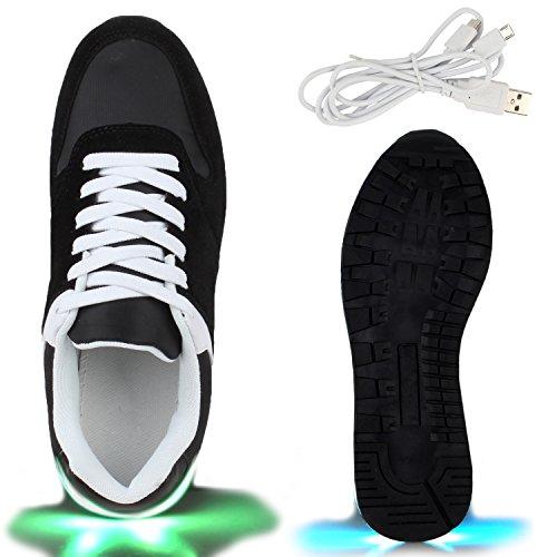 Sofort lieferbar aus DE - Leuchtende und Blinkende Damen Herren Kinder Mädchen Jungen Sneakers High und Low Led Light Farbwechsel Schuhe LED Licht Schwarz Weiss