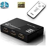 Musou 3 Port HDMI Commutateur Vidéo Full HD 1080P Adaptateur SWITCH Incluse Télécommande 3D Ready Convertisseur 3 entrées 1 sortie Dolby True HD Audio pour TV HD, PS3, Xbox One, Xbox 360, Lecteur Blu-Ray, DVD etc