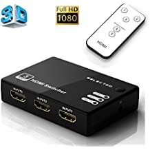 Musou Full HD Commutatore HDMI a 3 Porte Switch HDMI, Commutazione Automatica 3 IN 1 OUT con Telecomando, 3x1 HUB 3 vie di ingresso 1 uscita HDMI Splitter, Supporto 3D 1080P, Nero