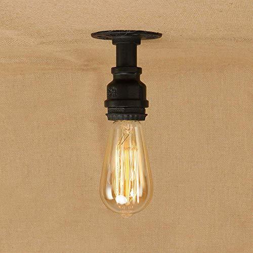 Deckenleuchte Retro Industrie Vintage Antik 1 Flamme Lampe E27 Lampe Loft Arbeitszimmer Gang Wasserpfeife Eisen Deckenlampe Innendeckenbeleuchtung Deckendekoration Wohnzimmer Flurbeleuchtung (Mat -