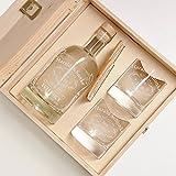 6-tlg Geschenk-Set in Holzkiste - 2 Gläser, 2 Untersetzer und Whisky-Karaffe in Geschenk-Box mit Gravur - Motiv Quality Whisky