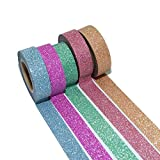 K-LIMIT 5er Set Washi Tape Dekoband Masking Tape Klebeband Scrapbooking DIY Weihnachten Christmas Glitter 6280