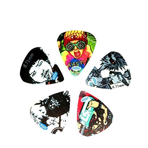 YUnnuopromi 5pcs Fashion Graffiti Ukulele Bass akustische e-Gitarre Picks Plectrum Sheet 5# (Ibanez E-gitarre-pickups,)