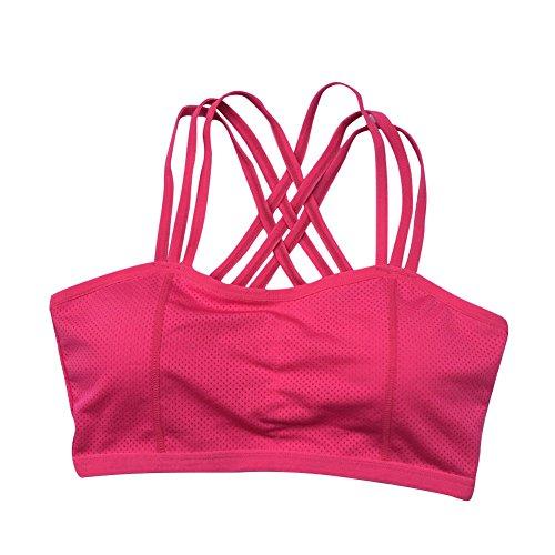 BOBORA Donna Reggiseno Sportivo Yoga Bra Wirefree Traspirante Bra Quick Dry Sportivo Alto Impatto Rosa