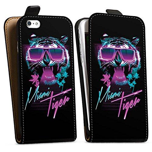 Apple iPhone X Silikon Hülle Case Schutzhülle Miami Tiger Sonnenbrille Downflip Tasche schwarz