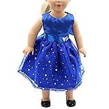 Kleid für Barbie,Beetest Mädchen Puppen Spielzeug Hochzeit Blau Pailletten Kleider Outfits für 18 Zoll American Girl Unsere Generation Puppen Zubehör Geburtstagsgeschenk