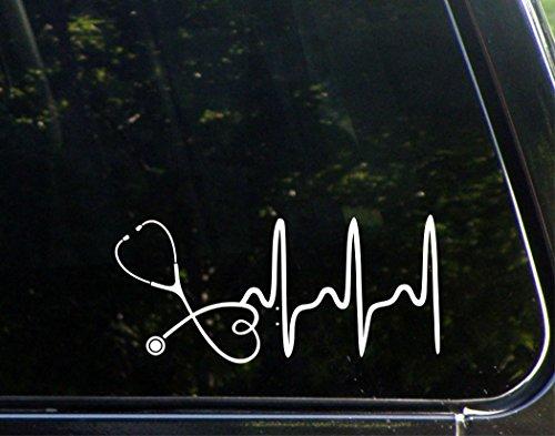 Stethoskop-doctor- Krankenschwester-Herz-20,3cm X 33/10,2cm-VINYL die cut Aufkleber/Bumper Aufkleber für Windows, Lkws, Autos, Laptops, MacBooks, etc.. -