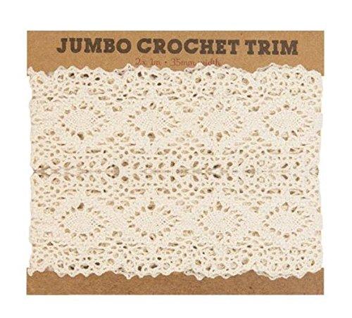 2m Vintage Lace Trim Elfenbein Hochzeit Brautschmuck Band Crochet Weiß Craft Dekoration - Crochet Trim Band