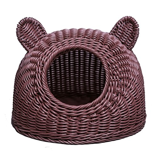 3976b11b5593 Dog bed Cat House Teddy Dog House in Spring and Summer PP Resin Cat Head  Round Pet House Pet Supplies (Color : Brown)