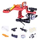 CX TECH Fishing Catapult Reel Hunting Slingshot Light Fishing Metal Bow Outdoor Bait Feeder Broadheads Freccette con Luce a LED,Red