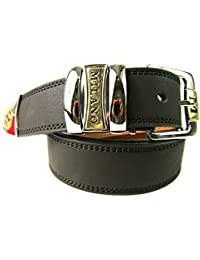 Mens Brown Leather Belt Designed By Milano 2757