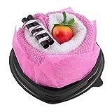 DealMux di cuore Asciugamano Cupcake fragola simulato Chocolate Bar Particolare Washcloth regalo fucsia Decor