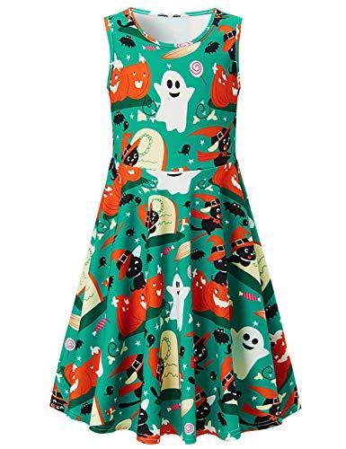 Funnycokid Mädchen Kleid Sommer Bekleidung Ärmellos Albtraum Halloween Drucken Kleid 6-7 T