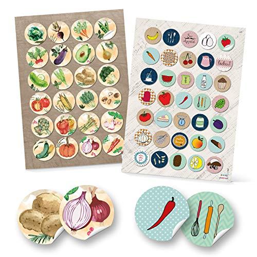 Logbuch-Verlag 24 + 35 runde Aufkleber Küche Essen Lebensmittel Ernährung Sticker selbstklebend Deko Etiketten Kinderaufkleber basteln Scrapbooken - Pflaumen Gurke