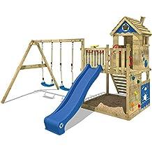 WICKEY Torre de juegos Smart Lodge 120 Torre de escalada jardín de la casa del árbol con la casa de juegos, columpio doble, arenero grande, muro de escalada, tobogán azul