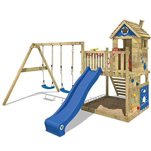WICKEY Spielturm Smart Lodge 120 - Klettergerüst mit Stelzenhaus, Schaukel, Sandkasten, Kletterwand und -leiter, blauer…