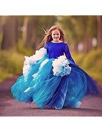 a0c88d01b88be Robes de soirée Formelles Full Lace Manches Longues Danse Fille Fleur  garçon Bleu Show Fille Robe de mariée Spectacle Anniversaire Princesse…