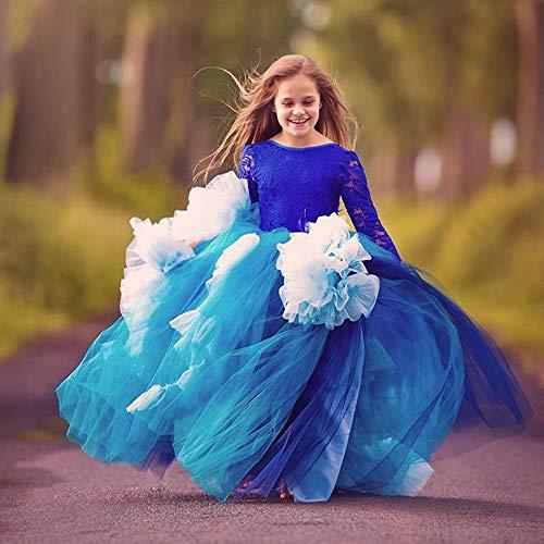 Kostüm Cosplay Prinzessin Full Lace Long Sleeve Tanz Mädchen Blume Boy Blue Show Girl Hochzeit Kleid Show Geburtstag Prinzessin Pettiskirt Show Schicke Party (Größe : 4-5T)