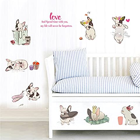 LanLan Room Decors Art Sticker Removable Stickers Waterproof Mural Decals Cute French Bulldog Wall Decal