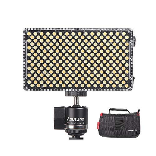 Aputure AL-F7 Portable LED Videoleuchte Lampe Panel 3200K-9500K Dimmbar CRI95 + 256pcs LED Lampen Panel mit Cold Shoe Mount Tragetasche