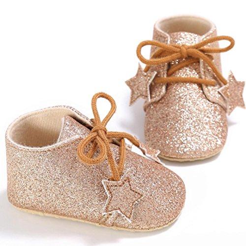 Omiky® Mode 2017 Kleinkind Mädchen Krippe Schuhe Neugeborene Blume Soft Sohle Anti-Rutsch Baby Sneakers Gold
