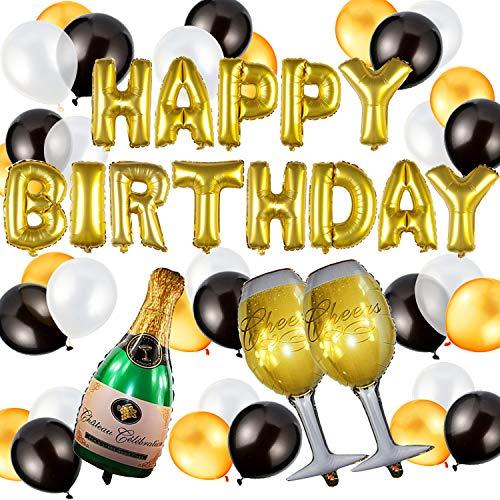 Geburtstagsdeko, Kindergeburtstag Deko Geburtstag Dekoration Set, 49 Stücks HAPPY BIRTHDAY Dekoration, weiße goldene schwarze Ballons +Champagnerglas Luftballons + Champagnerflaschen ballon